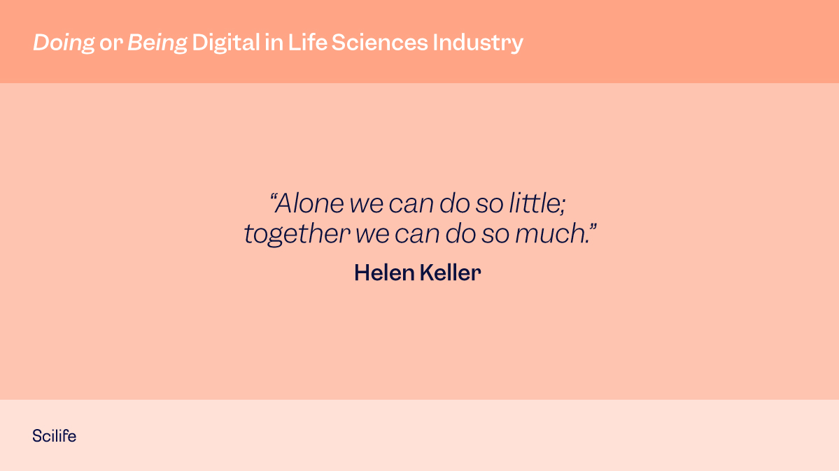"""Helen Keller quote """"Alone we can do so little; together we can do so much."""" in red background."""