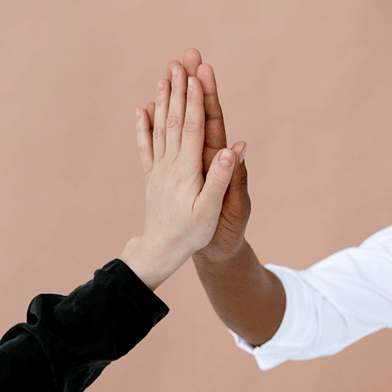 Picture of two folding hands to represent Scilife's partnership