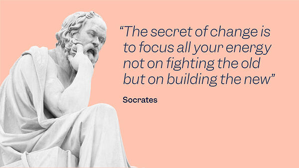 """Socrates' Sculpture with a quote that says: The secret of change is to focus all your energy not on fighting the old but on building the new"""" to explain the advantages of choosing a e-QMS like Scilife's Software Platform."""