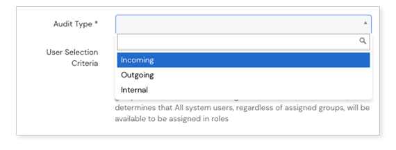 Screenshot of Audits types dialog on Scilife Platform