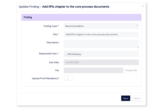 Screenshot of Audits findings dialog on Scilife Platform