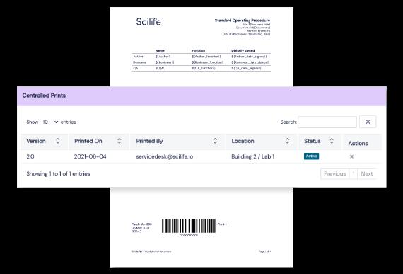 Screenshot of barcode details panel on Scilife's Platform