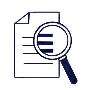 Hand drawn illustration of a magnifier in a document to represent Scilife's Audit Module