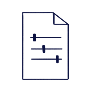 Hand drawn illustration of a document with some settings buttons inside to represent Document Control Module of Scilife