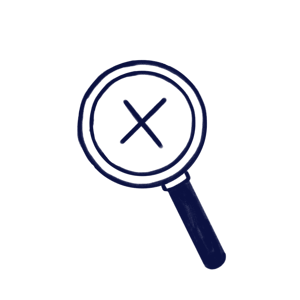 Hand drawn illustration of a magnifier with a cross inside to represent Events Scilife's Module