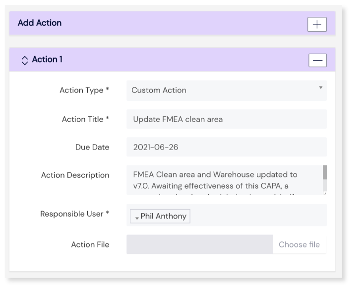 Screenshot of the Add Action Panel on Scilife's Platform