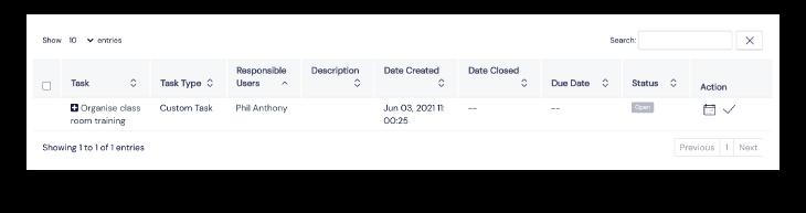 Screenshot of tasks panel on Scilife's Platform