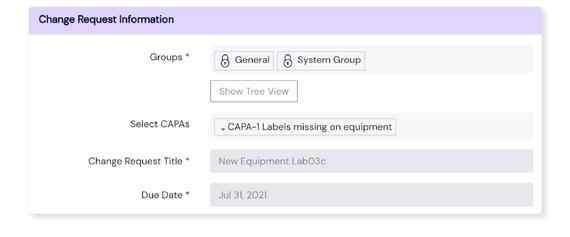Screenshot of the Change Request Information panel on Scilife's Platform