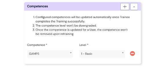 Screenshot of Competences Configuration panel at Scilife Platform