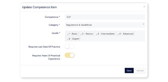 Screenshot of Competences Item panel at Scilife Platform