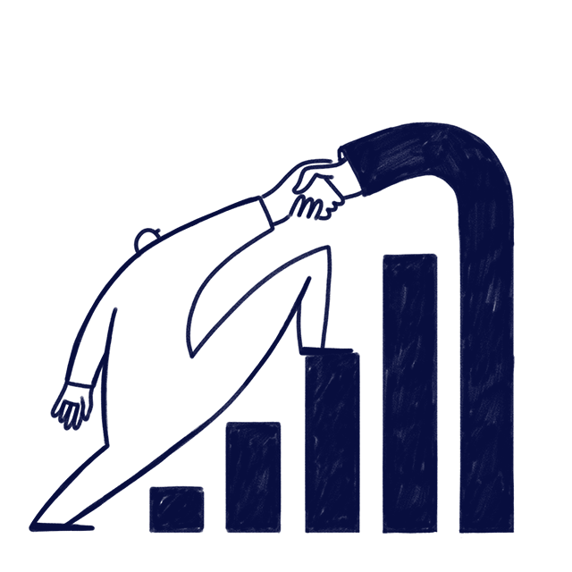 Hand made illustration of a person climbing a bar chart in order to represent that Scilife's driven by data and evidence.