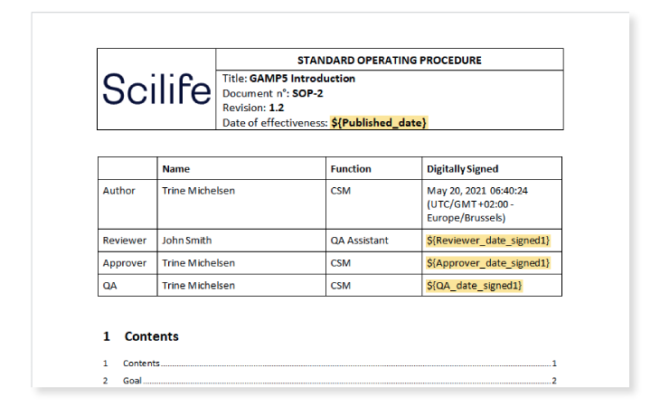 Screenshot of a Document view with variable fields highlighted on Scilife's Platform