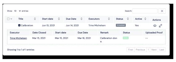 Screenshot of Equipment listing Panel on Scilife Platform