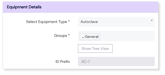 Screenshot of Equipment Details Panel on Scilife Platform