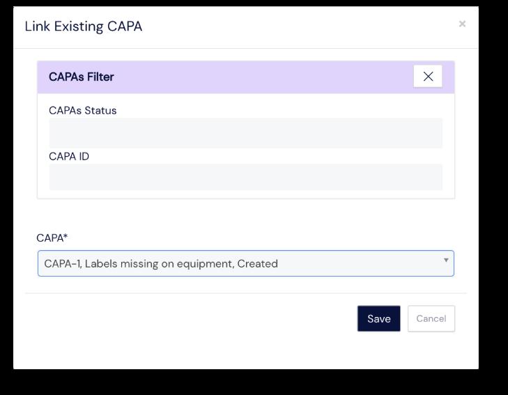 Screenshot of linked CAPAs panel at Scilife's Platform