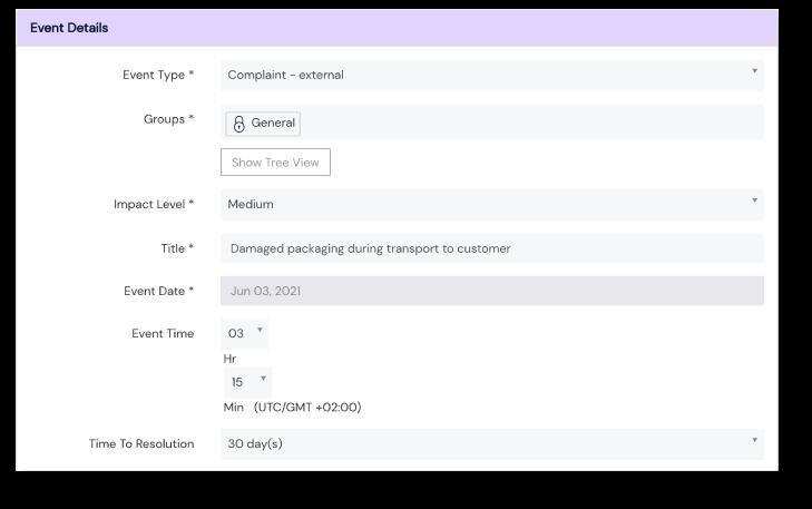 Screenshot of Event details panel at Scilife's Platform