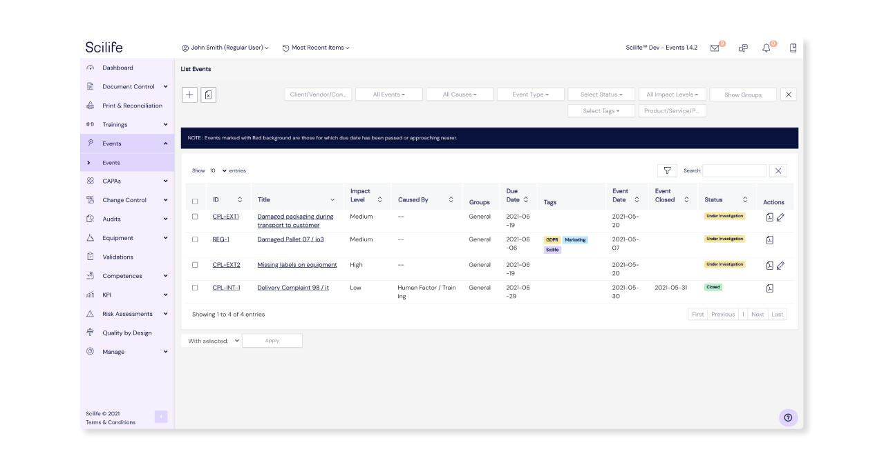 Screenshot of Events Module Overview at Scilife's Platform