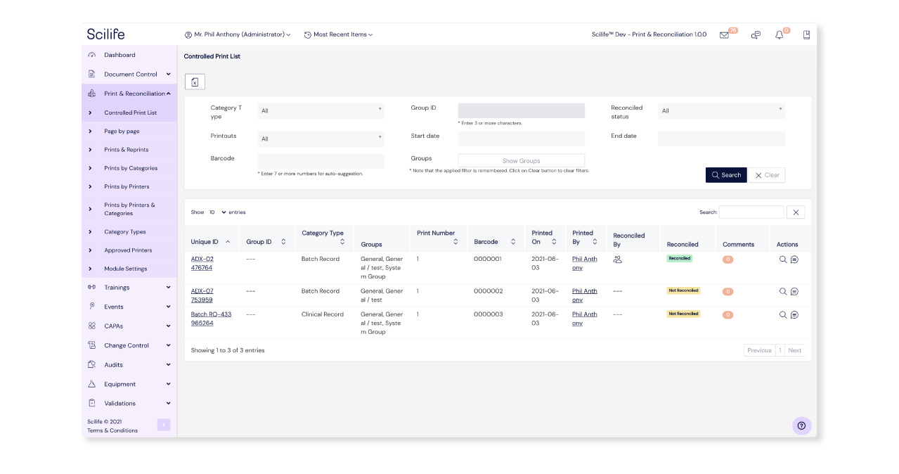 Screenshot of Print & Reconciliation Module Overview on Scilife Platform