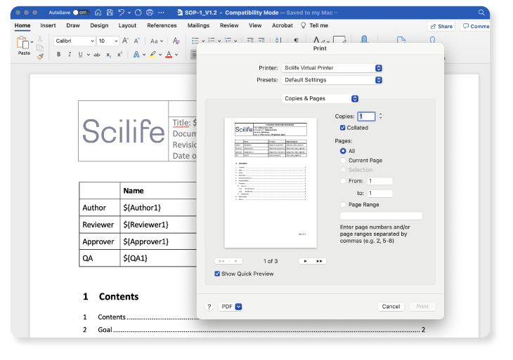 Screenshot of printing panel of microsoft word integrated on Scilife's Platform