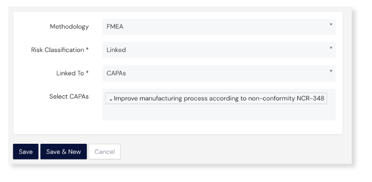 Screenshot of Linking panel at Risk Assessment Module on Scilife's Platform
