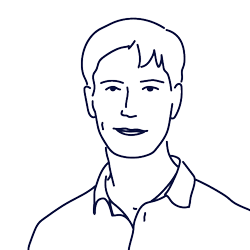 Hand drawn illustration of Filip Heitbrink, CEO of Scilife