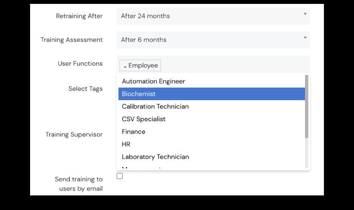 Screenshot of Training configuration at Scilife's Platform