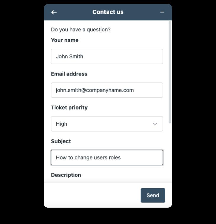 Screenshot of contact support panel at Scilife's Platform