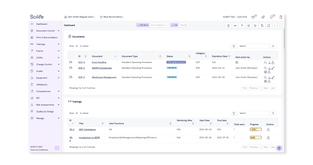 Screenshot of Scilife's Platform Dashboard