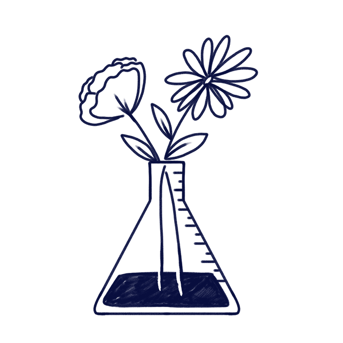 Hand-drawn illustration of flowers in a jar to represent Scilife's goal of improving life through science.