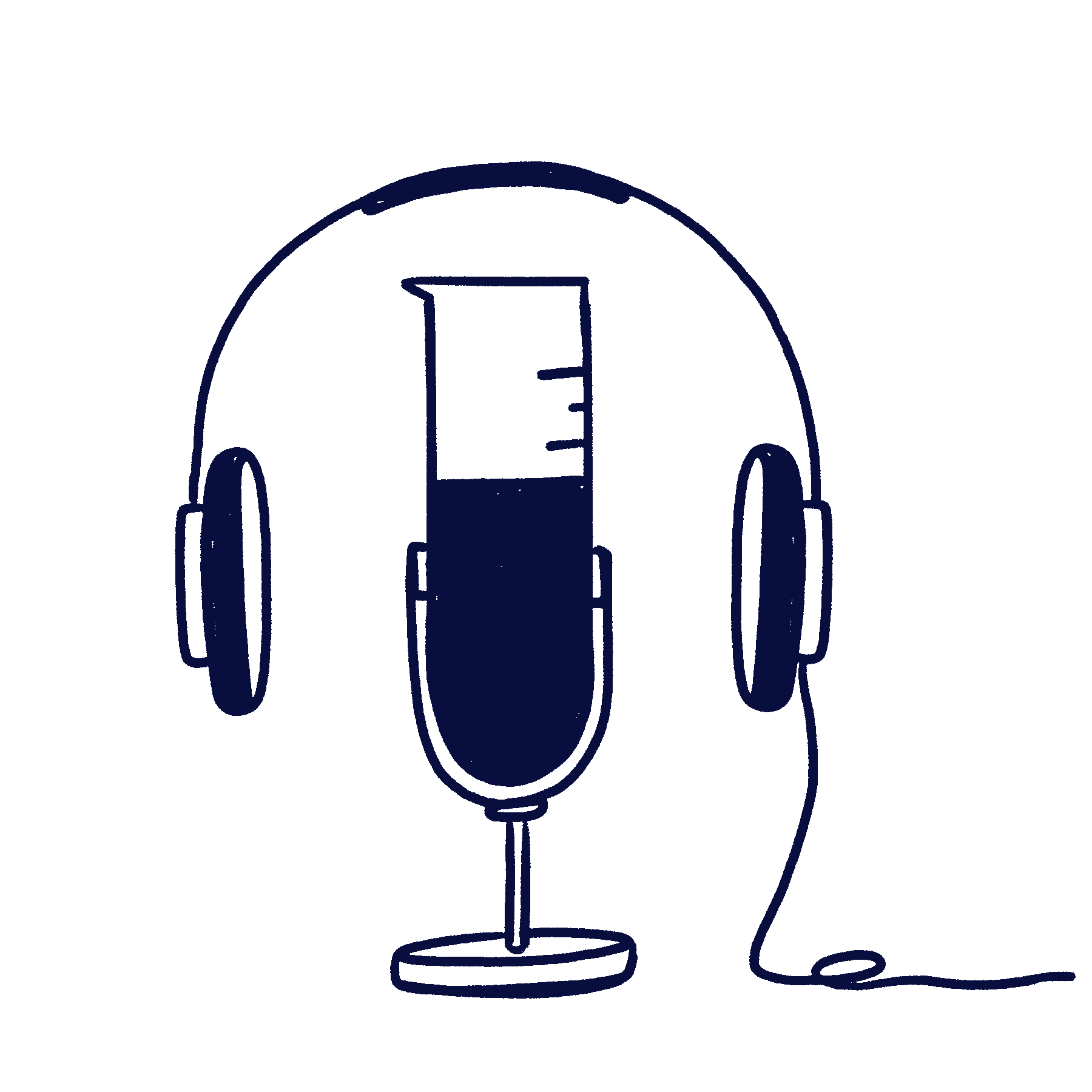 Hand drawn illustration of a test tube that works as a microphone and has headphones around it to represent our Scilife science boosters podcast