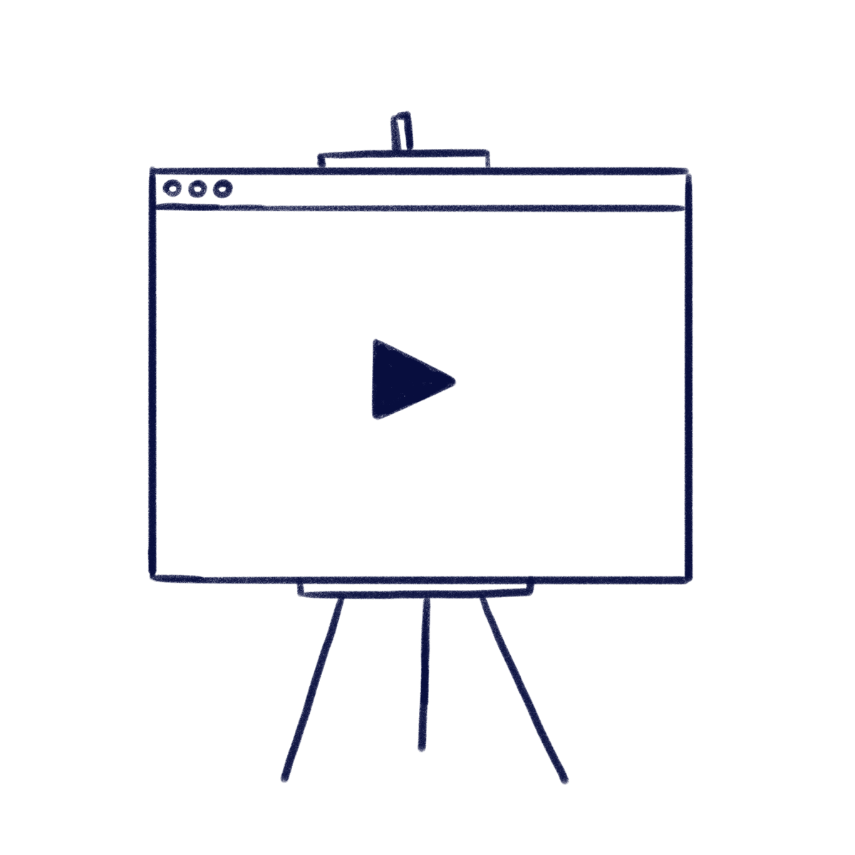 Hand drawn illustration of a presentation support with a play icon inside to represent Scilife webinars and online events